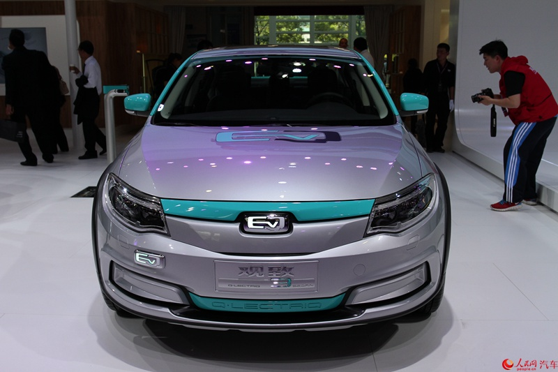 An electric car displayed at the 2016 Beijing Auto Show
