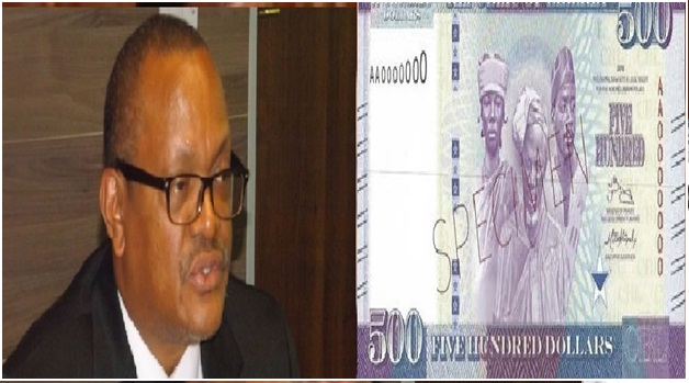 {L/R} CBL Governor Milton Weeks and the new $500 introduced bank note