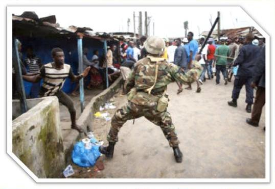 FLASHBACK: Liberian Soldiers repelled the surging crowd in West Point during 2014 Ebola crisis in the Township of West Point, the suburb of Monrovia