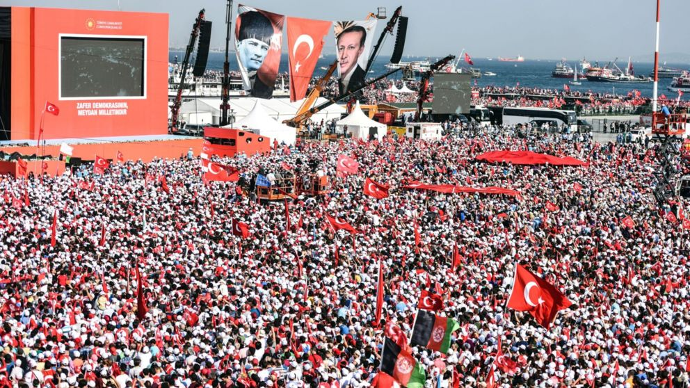The President tells a huge anti-coup rally he supports moves to bring back the death penalty, which could see a clash with the EU