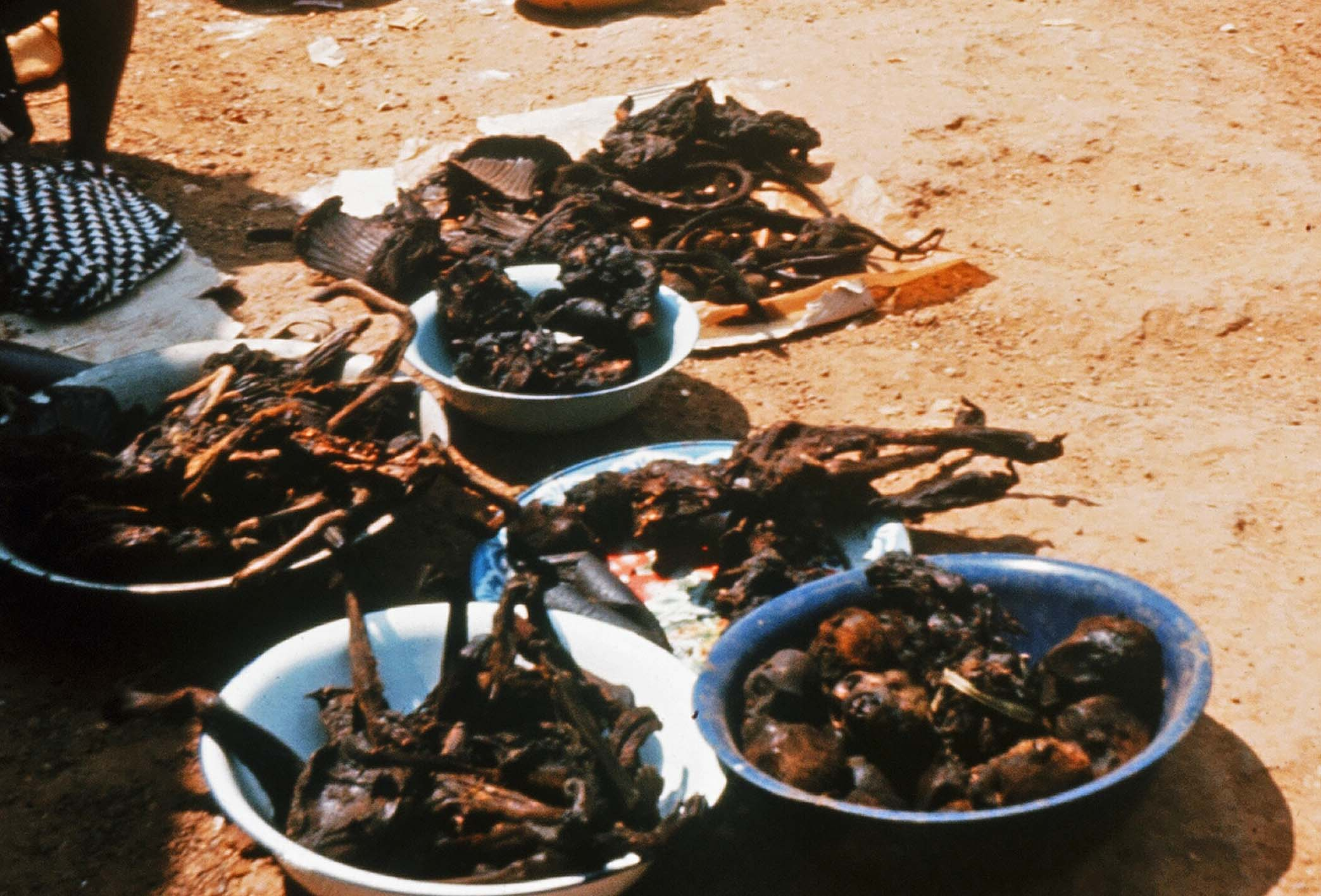 Flash Back: Bowls of dry meat being put on sale