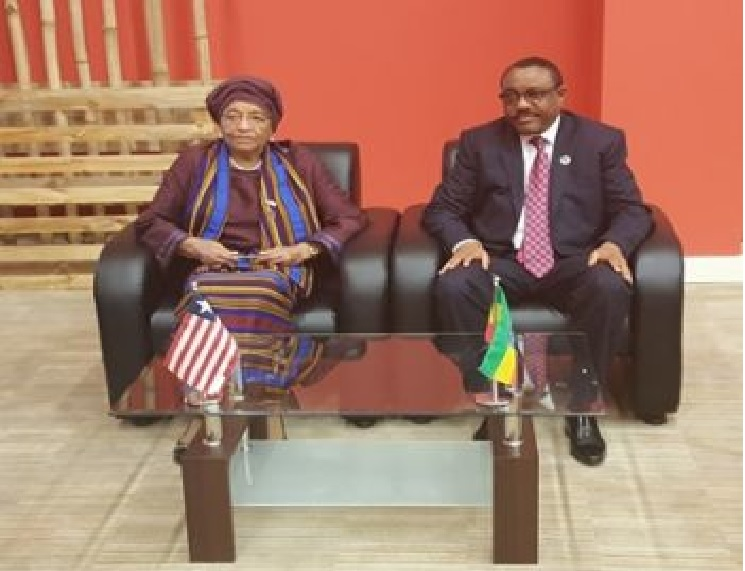 President Sirleaf and Her Ethiopian counterpart Hailemariam Desalegn. Photo Credit: EXECUTIVE MANSION