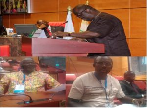 Pic caption: Above, Rep. Snowe reads the report as Rep. Kanmoh presides (seated); Below (right to left), Senators Weah & Johnson listen during the session