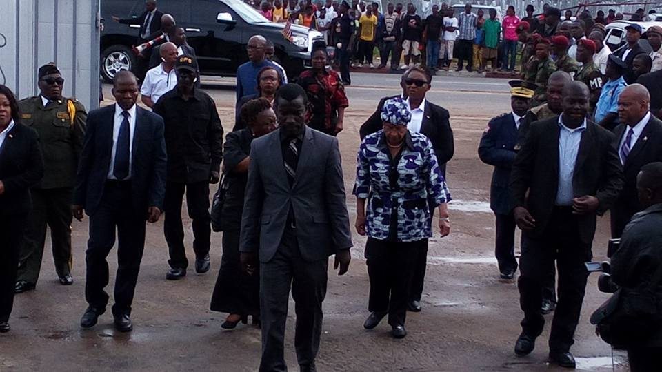 Liberian Leader at the removal of the casket bearing the remains of Dr. Edward B. McClain at the Samuel Stryker Funeral Home in Sinkor