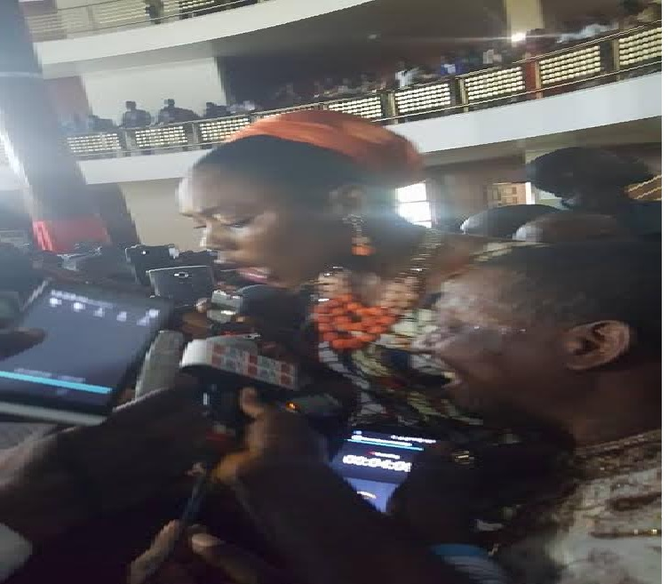 The 'Eight Count Resolution' being read by Montserrado County district # 9 Representative, Munah Pennoh-Youngblood before presenting to the Chief Clerk
