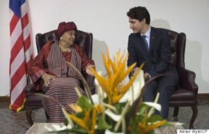 Canadian Prime Minister Justin Trudeau meets with Liberian President Ellen Johnson Sirleaf at the Ministry of Foreign Affairs in Monrovia on Thursday November 24, 2016. THE CANADIAN PRESS/Adrian Wyld