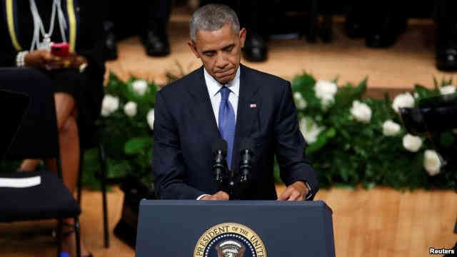 U.S. President Barack Obama speaks during a memorial service following the multiple police shootings in Dallas, Texas, July 12, 2016.