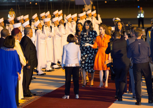 U.S. first lady Michelle Obama with her daughters Sasha and Malia, is welcomed by Princess Lalla Salma (centre, R) of Morocco as she arrives at the Marrakech International Airport, early June 28, 2016. REUTERS/Youssef Boudlal  - RTX2IL5V