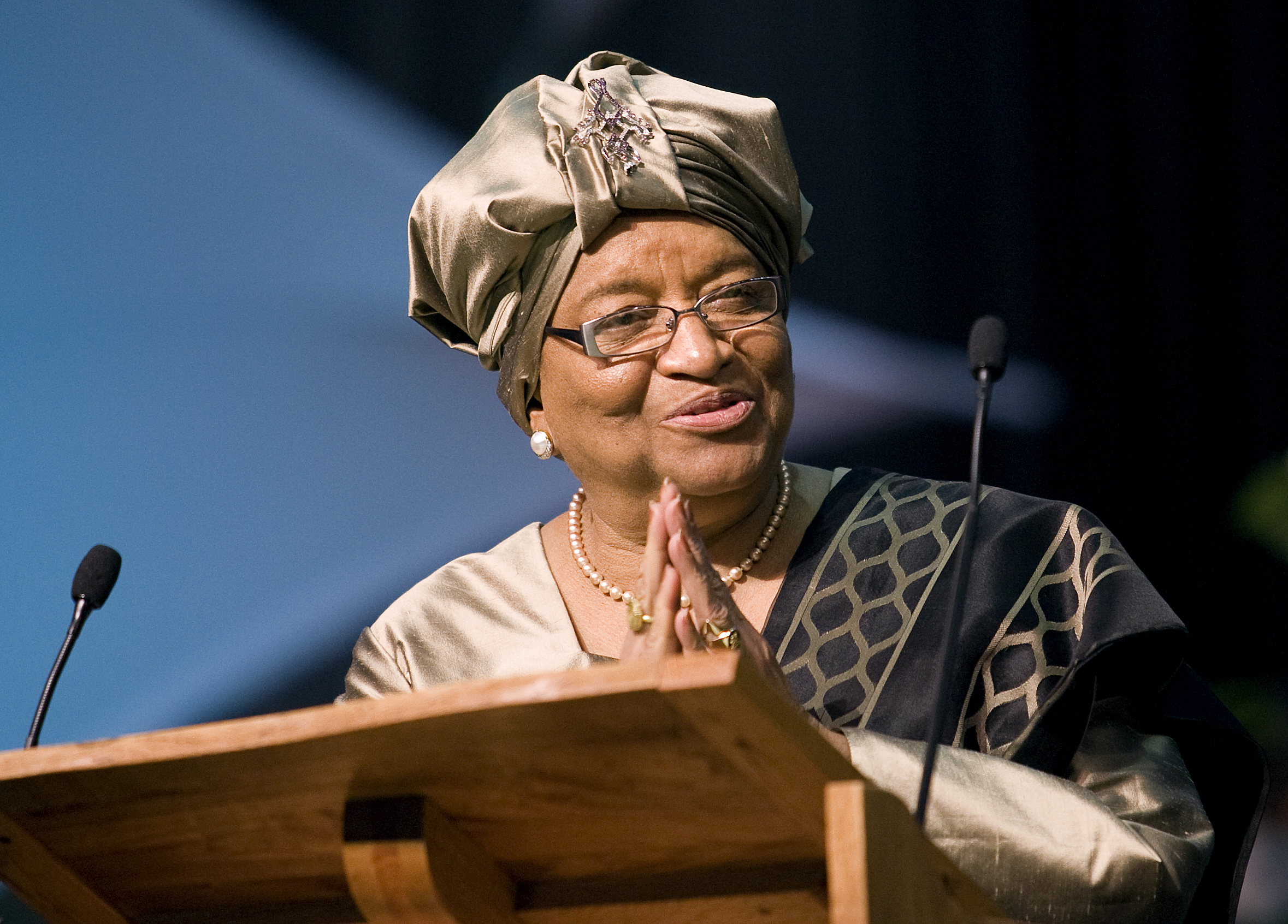 Ellen Johnson Sirleaf, president of Liberia, addresses the 2008 United Methodist General Conference on April 29 in Fort Worth, Texas. Sirleaf is a United Methodist and the first female head of state in Africa. A UMNS photo by Mike DuBose. Photo #GC0380. April 29, 2008.