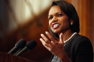 """WASHINGTON - OCTOBER 15: Former Secretary of State Condoleezza Rice talks about her new book, """"Extraordinary, Ordinary People: A Memoir of Family,"""" during the Newsmakers luncheon at the National Press Club October 15, 2010 in Washington, DC. The book is about Rice's family and growing up in racially-segregated Birmingham, Alabama, during the 1950s and 60s. (Photo by Chip Somodevilla/Getty Images)"""
