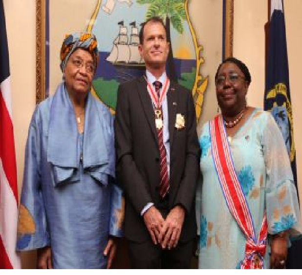 President Sirleaf, Outgoing Ambassador and Liberia's Foreign Minister. Photo Credit: EXECUTIVE MANSION