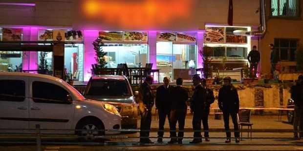 The scene of a reported shooting in Istanbul
