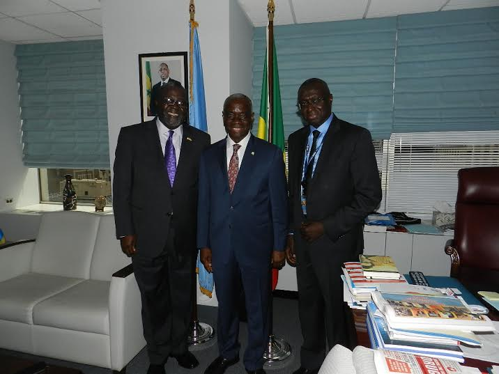 Ambassador Brown poses with Ambassador Fode Seck of Senegal and the  ECOWAS's Representative to the UN Mr Kone  Tanou