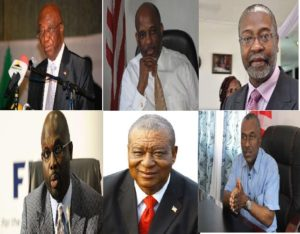 Boakai;UP, Brumskine;LP, Jones; MOVEE, Weah; CDC, Urey; ALP and Cummings, ANC