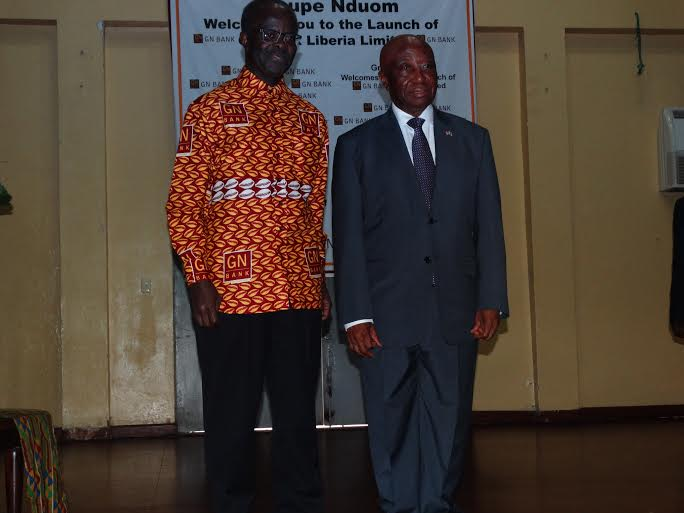 PRESIDENT OF GN NDUOM, DR. PAPA KWESI NDUOM AND LIBERIAN VICE PRESIDENT AT THE OFFICIAL LAUNCHING OF THE BANK