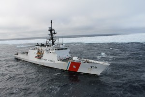 The Coast Guard Cutter Stratton from Alameda, Calif., steams near an ice floe in the Arctic Ocean during Operation Arctic Shield 2014 Sept. 14, 2014. (Coast Guard photo courtesy of Cutter Statton)